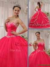 Pretty  Coral Red Quinceanera Gowns with Appliques QDZY566DFOR