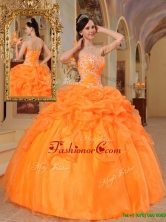 Pretty  Orange Red Ball Gown Sweetheart Quinceanera Dresses  QDZY350AFOR