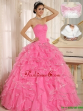 Pretty Ruffles and Beading Quinceanera Dresses in Rose Pink ZY744BFOR