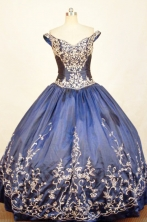 Romantic Ball Gown Off The Shoulder Floor-length Navy Blue Quinceanera dress Style FA-L-292