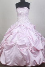 Romantic Ball Gown Strapless Floor-length Baby Pink Quinceanera Dress LZ426067