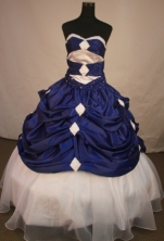 Romantic Ball Gown Sweetheart Floor-length Royal Blue Taffeta Quinceanera dress Style FA-L-157
