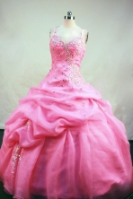 Romantic Ball gown Strap Floor-length Organza Pink Quinceanera Dresses Style FA-C-104