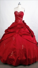 Simple Ball Gown Sweetheart-neck Floor-length Wine Red Quinceanera Dresses Style FA-C-052