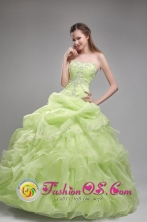 Spring Green Beading and Ruffles Decorate Strapless Quinceanera Dress For Formal Evening In Siquirres Costa Rica Style ZYLJ19FOR