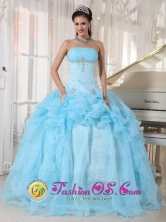 Sweet 16 Baby Blue Ball Gown Dresses With Organza Pick-ups Beading and Ruch Carmen Costa Rica Style PDZY736FOR