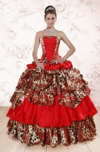 Unique Leopard Multi Color 2015 Quinceanera Dresses with Strapless XFNAO234FOR