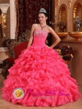 Watermelon Red Ruffles Beaded Appliques Ruching Quinceanera Dress For 2013 Alajuela Costa Rica Style QDZY055FOR