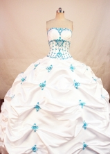 Wonderful ball gown strapless floor-length satin appliques with beading white quinceanera dresses FA-X-60