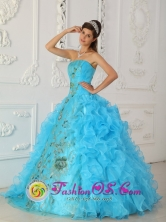 2013 Barranca Peru Aque Blue Ruffles Strapless Surprise wholesale Quinceanera Dresses With Appliques For Sweet 16 Style QDZY295FOR