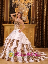 2013 Casma Peru Quinceanera Dress with Taffeta and Leopard Ruffles Beaded Decorate Bust Droped wholesale Waist Ball Gown Brush Train Style QDZY010FOR