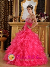 2013 La Arena Peru Mermaid Ruffles and Beaded Decorate Bust Sweet 16 Dresses With Sweetheart Florr-length Style QDZY305FOR
