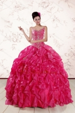 2015 Beautiful Spaghetti Straps Beading Quinceanera Dresses in Hot Pink XFNAO343FOR