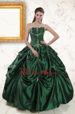 2015 Brand New Style Appliques Quinceanera Dresses in Dark Green XFNAO393FOR