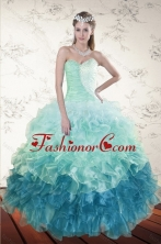 2015 Decent Multi Color Dresses for Quince with Beading and Ruffles XFNAO5640TZFXFOR
