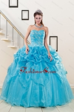 2015 Fashionable Sweetheart Beading Quinceanera Dress in Aqua Blue XFNAOA37FOR