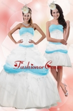 2015 Gorgeous Strapless Floor Length Appliques Quince Dresses XFNAO001TZFOR