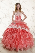 2015 Gorgeous Watermelon Strapless Quince Dresses with Appliques and Ruffles XFNAO018TZFXFOR