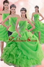 2015 Inexpensive Spring Green Quince Dresses with Pick Ups and Beading XFNAO5801TZA1FOR