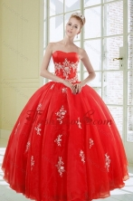 2015 Popular Red Quinceanera Dresses with Appliques XFNAOA38TZFXFOR