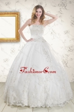 2015 Puffy Appliques Quinceanera Dress in White XFNAO078FOR