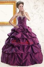 2015 Sweetheart Purple Quinceanera Dresses with Appliques and Pick Up XFNAO5824-2FOR