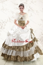 2015 Unique  Strapless Leopard Quinceanera Dresses with Hand Made Flower XFNAO437AFOR