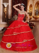 Arequipa Peru Stylish Red Ruffles Layered Sweetheart  With Beading Decorate Ball Gown wholesale Quinceanera DressStyle QDZY155FOR