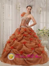 Barranca Peru Discount Rust Red wholesale Quinceanera Dress Hand Made Flower Decorate One Shoulder Organza Appliques Decorate Up Bodice For 2013 Style QDZY302FOR