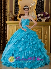 Barranca Peru The Most Popular Sweetheart 2013 wholesale Quinceanera Dress  Teal Appliques Ruffles Decorate  Ball Gown Style QDZY158FOR