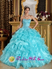 Casa Grande Peru Aqua Blue Layered Organza wholesale Quinceanera Dress With Beaded Bodice and Ruffles Style QDZY108FOR