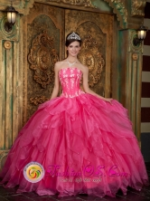 Casma Peru Hot Pink 2013 wholesale Quinceanera Dress with Strapless Organza Appliques Ruffled Ball Gown Style QDZY003FOR