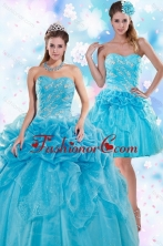 Exquisite Appliques and Pick Ups Teal Quinceanera Dresses for 2015 XFNAOA37TZFOR