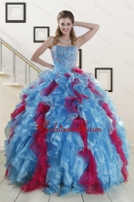 Fashionable Beading Quinceanera Dresses in Multi Color For 2015 XFNAO706FOR