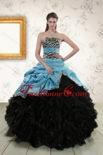 Gorgeous 2015 Zebra Print Multi Color Strapless Quinceanera Dresses with Ruffles and Pick Ups XFNAO435TZFXFOR