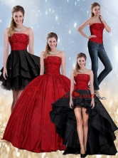 Gorgeous Beaded Strapless Ball Gown 2015 Quinceanera Dress in Red and Black QDZY597TZA2FOR