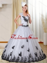 Gorgeous Cheap One Shoulder White and Black Quinceanera Dress with Appliques for 2015 ZY734TZFXFOR