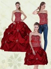 Gorgeous Detachable Wine Red Strapless Quinceanera Gown with Embroidery MLD090710TZA1FOR