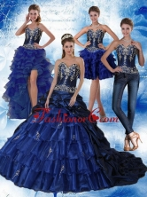 Gorgeous Navy Blue Sweetheart Quinceanera Dress with Embroidery and Ruffles QDZY319TZA2FOR