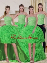 Gorgeous Spring Green Strapless Quinceanera Dress with Beading and Ruffles QDZY257TZA2FOR