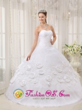 Guadalupe Peru Custom Made wholesale White 2013 Sweet 16 Dress With Organza Appliques And Hand Made Flowers Style QDZY174FOR