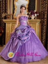 Huancavelica Peru Customize Lavender Appliques wholesale Quinceanera Dress With Hand flower and Pick-ups Decorate For 2013 Style QDML077FOR