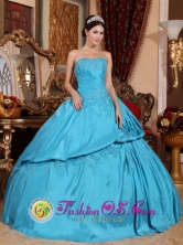 Ilave Peru Taffeta Teal Beading wholesale Applique Strapless and Pick-ups for Sweet 16 Style QDZY656FOR