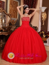Imperial Peru Summer Remarkable Red Strapless Ball Gown Appliques For Romantic Quinceanera Dress With Beadings Style QDZY609FOR