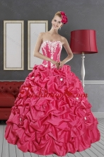 Inexpensive Hot Pink Dresses for Quince with Pick Ups and Appliques XFNAOA58TZFXFOR
