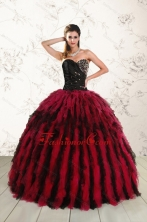 Luxurious Sweetheart Ruffles and Beaded Quinceanera Dresses in Red and Black XFNAO787FOR