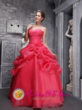 Marcavelica Peru Organza Beading and Ruch Decorate Pick-ups Coral Red wholesale Quinceanera Dress With Sweetheart Style QDML061FOR