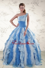 Multi Color One Shoulder Printed Quinceanera Dresses for 2015 XFNAO503FOR
