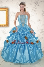 New Style Aqua Blue Quinceanera Dresses with Beading and Flowers XFNAO5874FOR