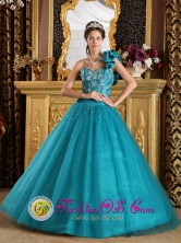 Perene Peru Stunning A-Line Turquoise One Shoulder Tulle Beaded Decorate wholesale Quinceanera Gowns Style QDZY202FOR